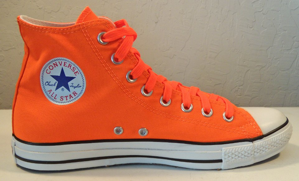 3 Neon Orange High Top Chucks Inside patch view of the neon orange with  neon orange shoelaces left high top. d46cf1946