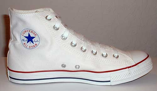 "bf72fac81f6d The ""Chuck Taylor"" All Star basketball shoe was born! optical white high top"