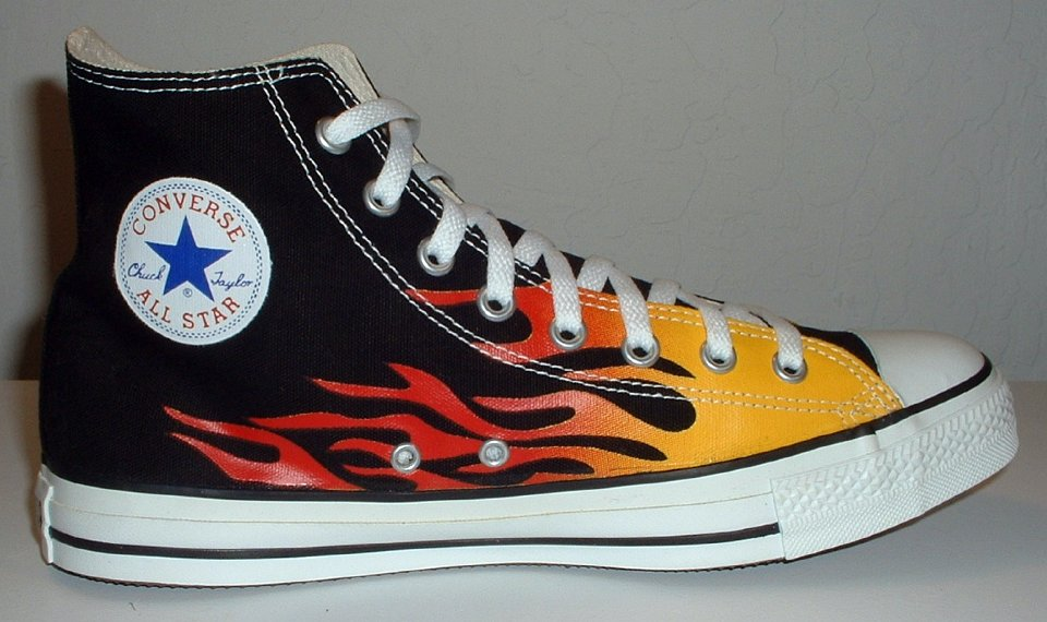 black converse with flames