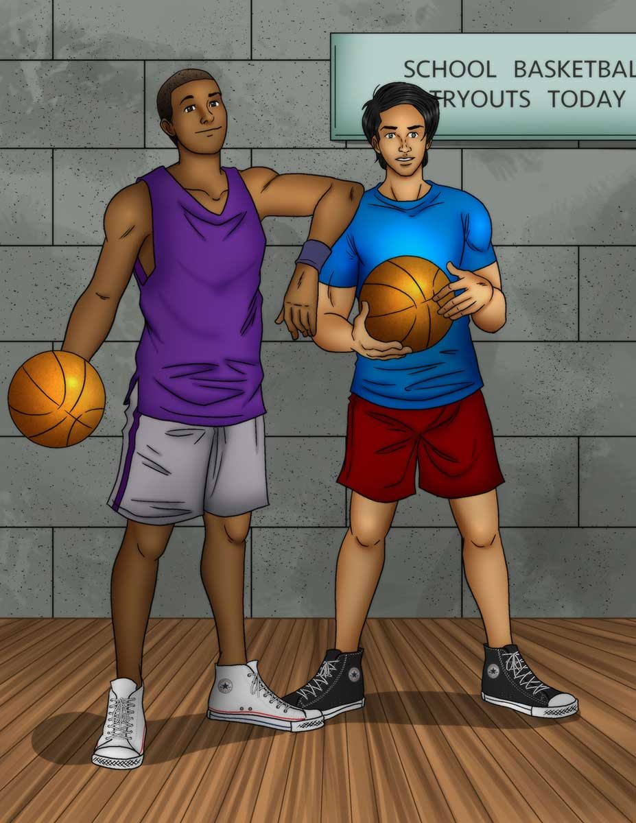 Two guys wearing chucks with a basketball ready for tryouts.