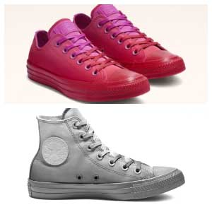 ffdd6370160b Active Fuschia Enamel Red Chuck Taylor All Star Dip Dye Low Top and Mason Chuck  Taylor All Star Dip Dye High Top.