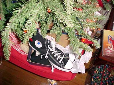 high top chucks under the Christmas tree