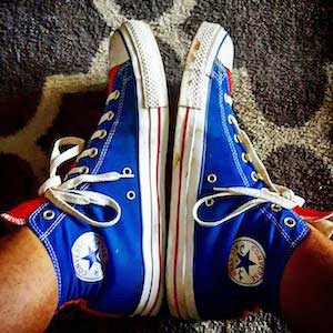 Chucks are red white and blue