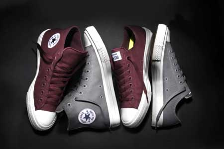 Grey and burgundy Chuck Taylor II models
