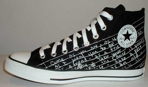 33006bbd75a The Kurt Cobain Signature high top and the Kurt Cobain Lyrics high top.