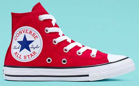 red oversized logo chucks