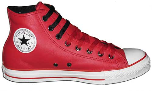 Red leather high top chuck