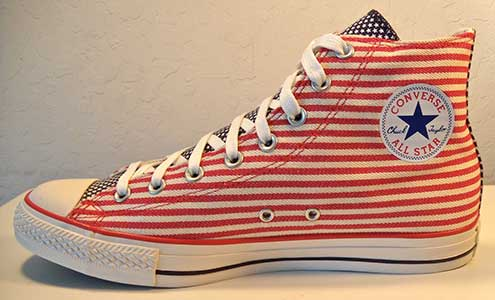 Converse Chuck Taylor red and white striped Americana high top