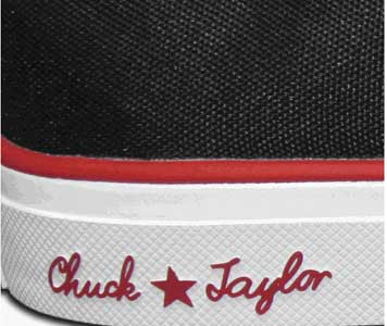 Close up of the Chuck Taylor signature.