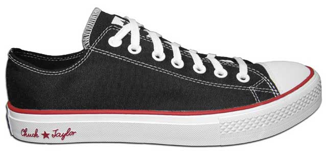 Outside view of a right black/red Chuck Taylor Reform low cut shoe