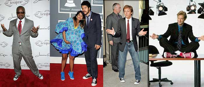 Celebrities wearing suits and chucks