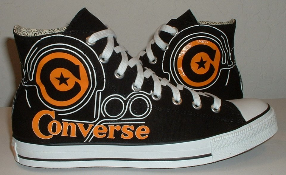 8062612cf261 12 Converse Century Print High Top Chucks Outside views of black