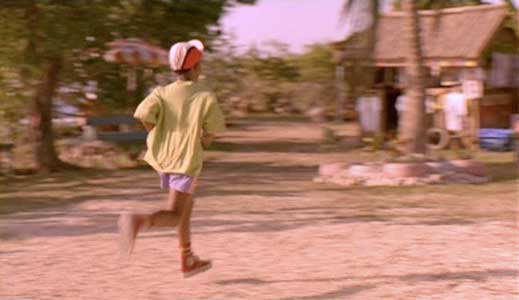 Kerwin Keir running to the village restaurant
