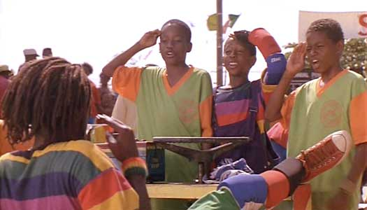 Sanka has his push cart team say their pledge