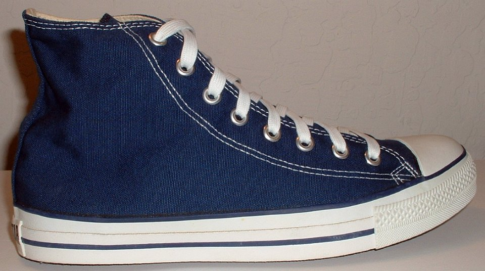 4 Core Navy Blue High Top Chucks Outside view of a right navy blue high top. f75ed1e9e