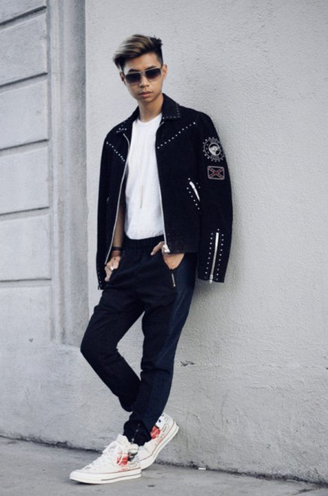 e1f2a4c4db 13 Guys Wearing Optical White Chucks Wearing customized optical white high  tops with a black jacket