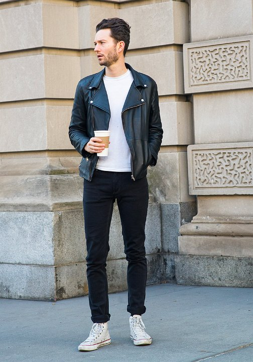 133caa8c88 30 Guys Wearing Optical White Chucks Wearing optical white high tops with a  black leather jacket