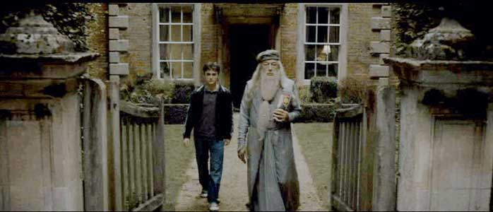 Dumbledore brings along Harry to Professor Slughorn's house