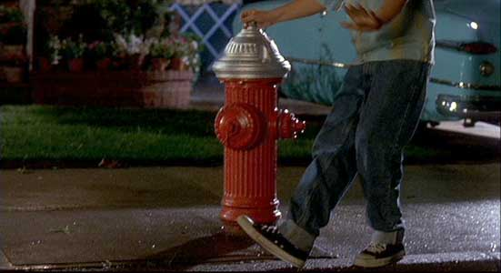 Lenny walks by the fire hydrant