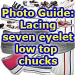 photo guide for lacing up 7 eyelet chucks