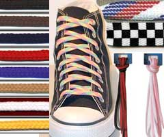 Buy print, weave, narrow and reversible shoelaces.