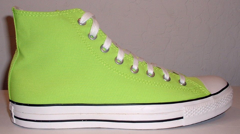 Neon Green and Black Converse All Star High Tops