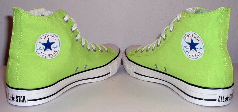 7d6317933a6e 6 Neon Green High Top Chucks Angled rear view of neon green high tops.