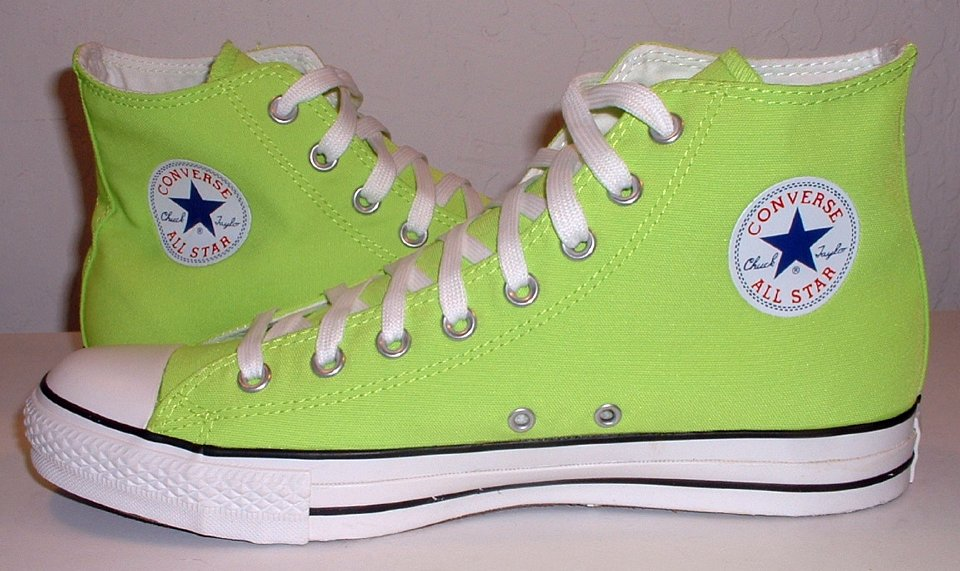 69e80b3e74ac 11 Neon Green High Top Chucks inside patch views of neon green high tops.