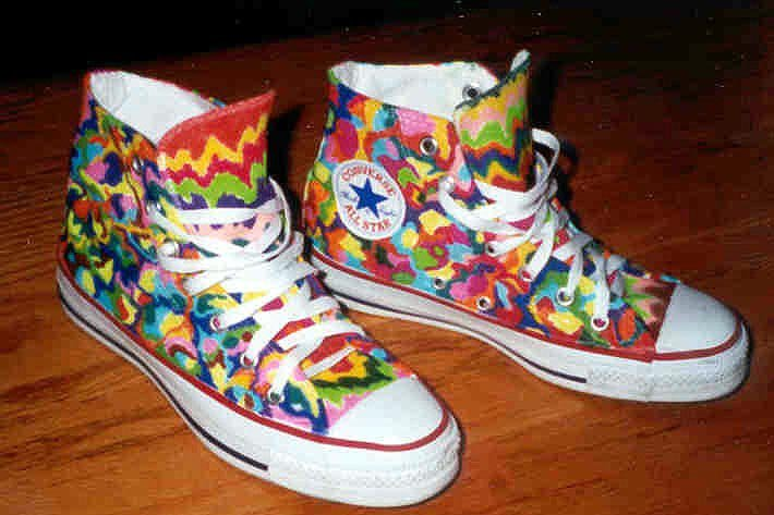26e9cf0d4aec 8 Hand Painted or Tie-Dyed High Top Chucks Custom painted white high tops