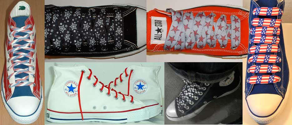 Print shoelaces on a pairs of low cut and high top chucks