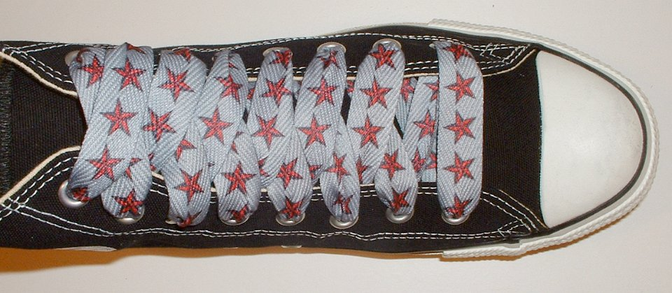 3120e8672608 26 Star Print Shoelaces on Chucks Black high top with red and silver star  print shoelaces.