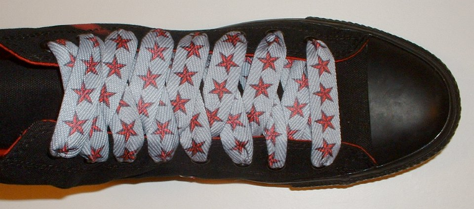 a362d02a6b64 31 Star Print Shoelaces on Chucks Black anarchy high top with red and silver  star print shoelaces.