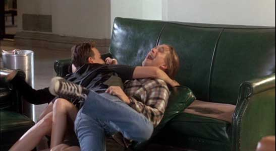 The threesome continue to fool around on the couch