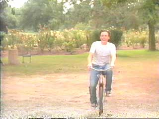 Bobby bikes over to his grandparents' house