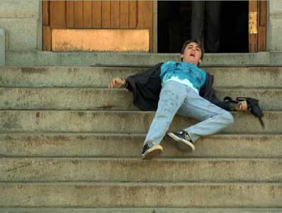 Joey falls mortally wounded on the front steps
