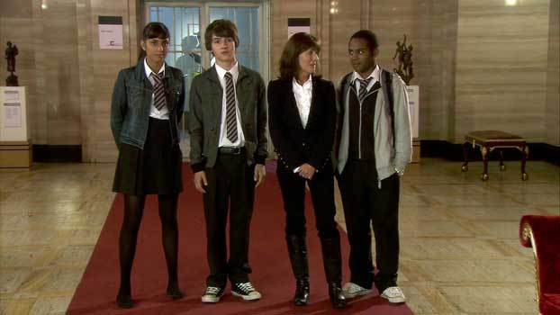 Maria, Luke, Sarah Jane, and Clyde in The Sarah Jane Adventures