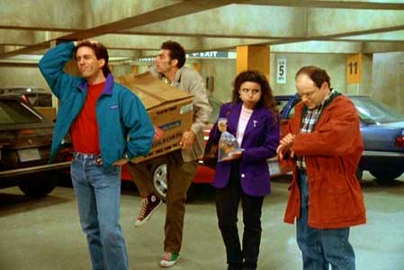 The four main characters of Seinfeld: Jerry, Kramer, Elaine, and George